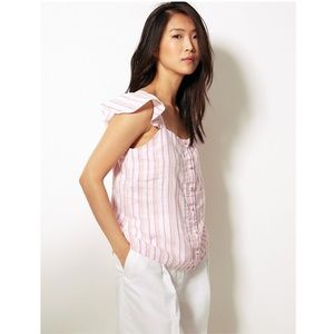 M&S COLLECTION Pure Linen Striped Ruffle Top